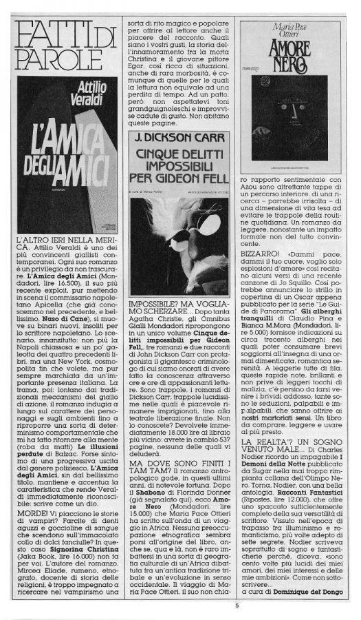 """Rubrica """"FATTI DI PAROLE"""",  con 6 brevi recensioni scritte Dominique Del Dongo (pseudonimo di Luigi Bernardi),  estratta dal n. 24 della rivista Orient Express"""