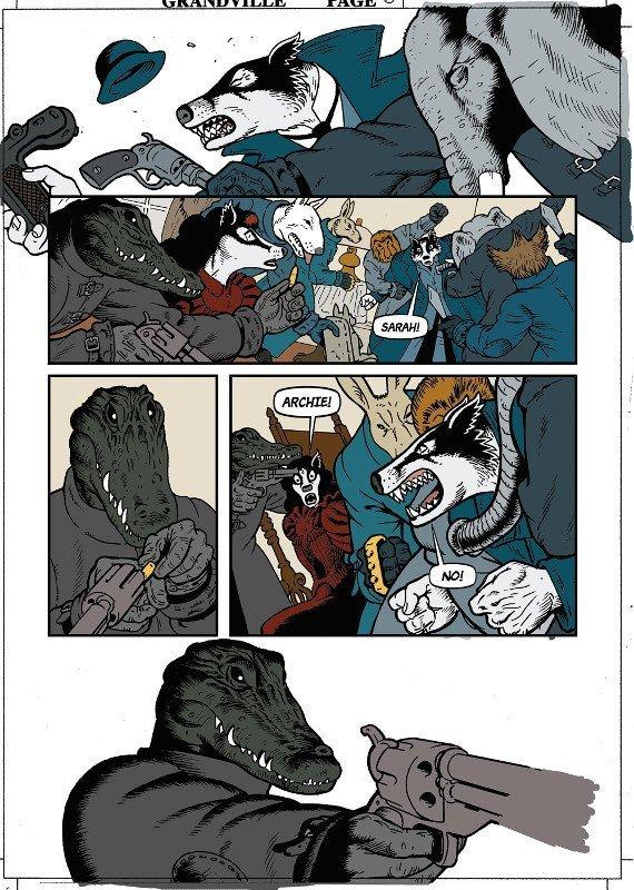 Primo passaggio dei piani di colore della pagina 69 di Grandville  Bête Noire
