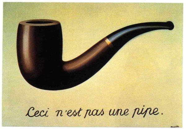 """Questa vignetta fa riferimento al famoso quadro del surrealista belga René Magritte, The Treachery of Images, a volte noto come  Ceci n'est pas un pipe (""""Questa non è una pipa""""). Il significato è che quella non è una pipa, ma una rappresentazione di essa."""