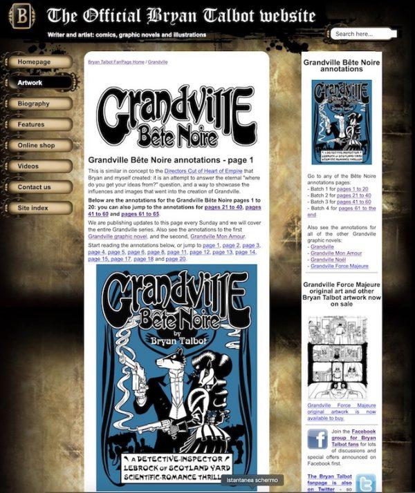 Pagina di apertura delle note al terzo volume di Grandville (Bête Noire), nel sito ufficiale di bryan talbot