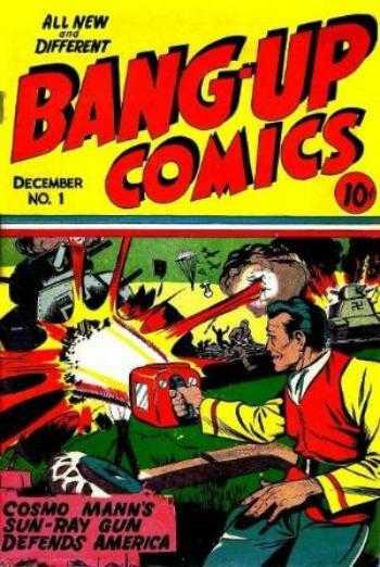 Copertina dell'albo n. 1 di Bang-Up Comics dove appare per la prima volta Lady Fairplay. Per gentile concessione