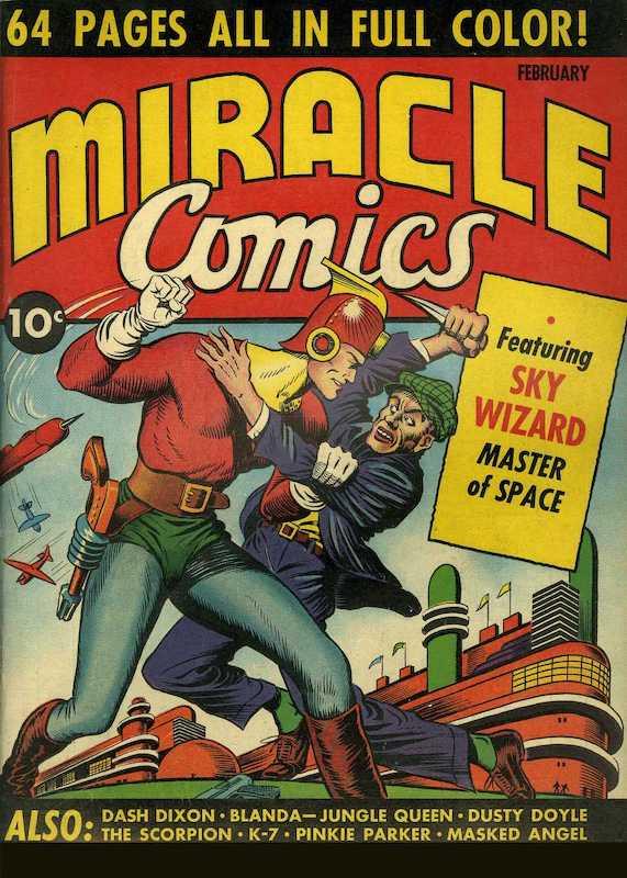 Copertina dell'albo n. 1 di Miracle Comics dove appare per la prima volta K-7. Per gentile concessione