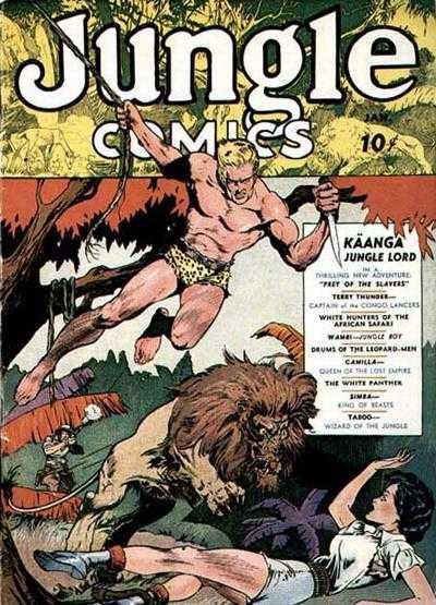 Copertina dell'albo n. 1 di Jungle Comics dove appare per la prima volta Wambi, the Jungle Boy. Per gentile concessione