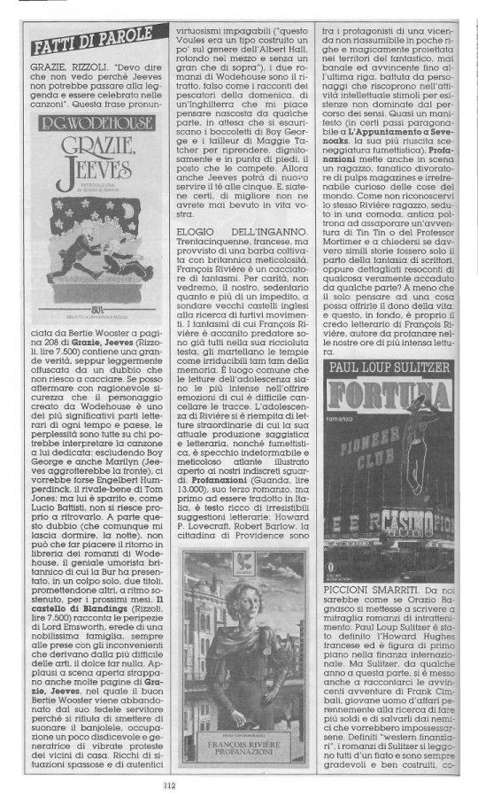 """Rubrica """"FATTI DI PAROLE"""",  con 5 brevi recensioni scritte Dominique Del Dongo (pseudonimo di Luigi Bernardi),  estratta dal n. 25 della rivista Orient Express"""