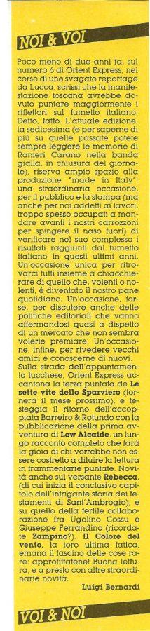 L'editoriale (Noi&voi), scritto da Luigi Bernardi, estratto dal n. 26 della rivista Orient Express