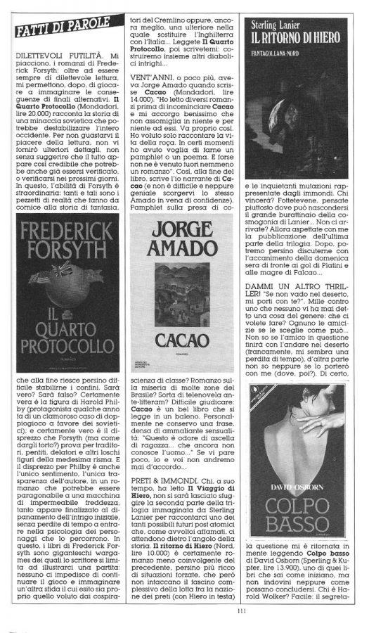 """Rubrica """"FATTI DI PAROLE"""",  con le recensioni scritte Dominique Del Dongo (pseudonimo di Luigi Bernardi),  estratta dal n. 26 della rivista Orient Express"""