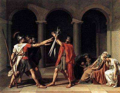il dipinto sullo sfondo è il Giuramento degli Orazi di Jacques Louis David (1748 – 1845)