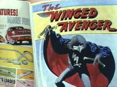 """E' una citazione di un episodio de Gli Avengers del 1967, intitolato Il Vendicatore Alato. Ispirato dalla popolarità di allora della serie TV Batman con Adam West, presentava un omicida che si vestiva come l'eponimo criminale dalla testa di falco di un fumetto ed includeva illustrazioni del veterano grande artista di fumetti Frank Bellamy. Il suo urlo di battaglia era """"EEE-URP!"""", qualcosa che gli sceneggiatori dovevano avere pensato suonasse fumettoso."""