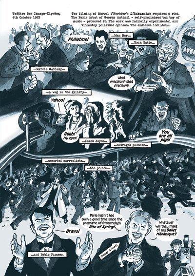 """La rissa fra i tradizionalisti e la """"New Wave"""" è stata ispirata da un evento realmente accaduto: la rivolta che scoppiò durante il debutto a Parigi compositore sperimentale George Antheil nel 1923, che coinvolse diversi artisti famosi. Qui trovate la pagina che la riguarda, dalla prima graphic novel che ho disegnato su testi di mia moglie Mary, Dotter of Her Father's Eyes."""