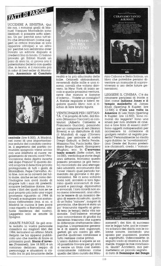 """Rubrica """"FATTI DI PAROLE"""",  con 4 brevi recensioni scritte Dominique Del Dongo (pseudonimo di Luigi Bernardi),  estratta dal n. 27 della rivista Orient Express"""