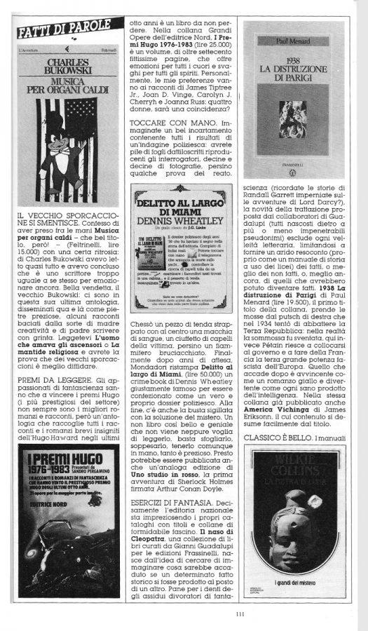 """prima pagina della Rubrica """"FATTI DI PAROLE"""",  con 4 brevi recensioni scritte Dominique Del Dongo (pseudonimo di Luigi Bernardi),  estratta dal n. 28 della rivista Orient Express"""