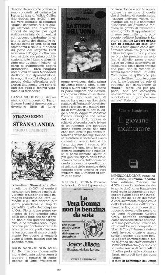 """seconda pagina della Rubrica """"FATTI DI PAROLE"""",  con altre 5 brevi recensioni scritte Dominique Del Dongo (pseudonimo di Luigi Bernardi),  estratta dal n. 28 della rivista Orient Express"""