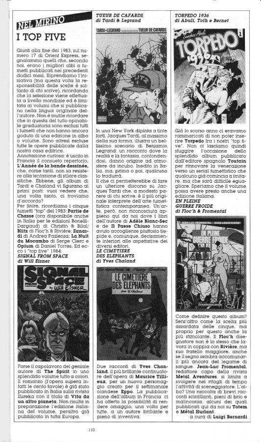 """Nuova Rubrica """"NEL MIRINOE"""",  con 5 brevi recensioni di fumetti scritte dai Luigi Bernardi), estratta dal n. 28 della rivista Orient Express"""