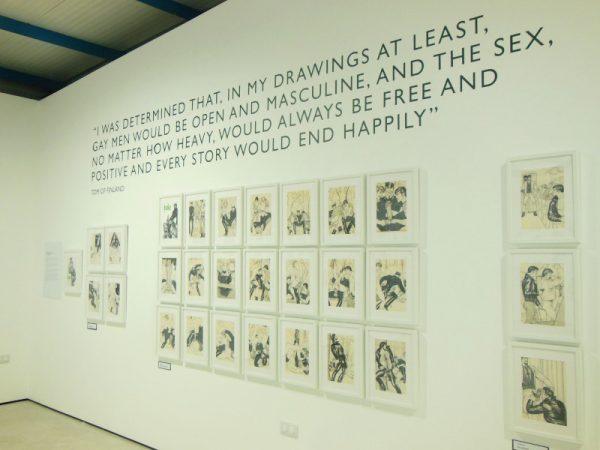 foto 3 - terzo scorcio della mostra della mostra dedicata a Tom of Finland nella bella sala della Cross Lane Project (un'altra location leggermente decentrata, vicino la  Abbot Hall Art Gallery).