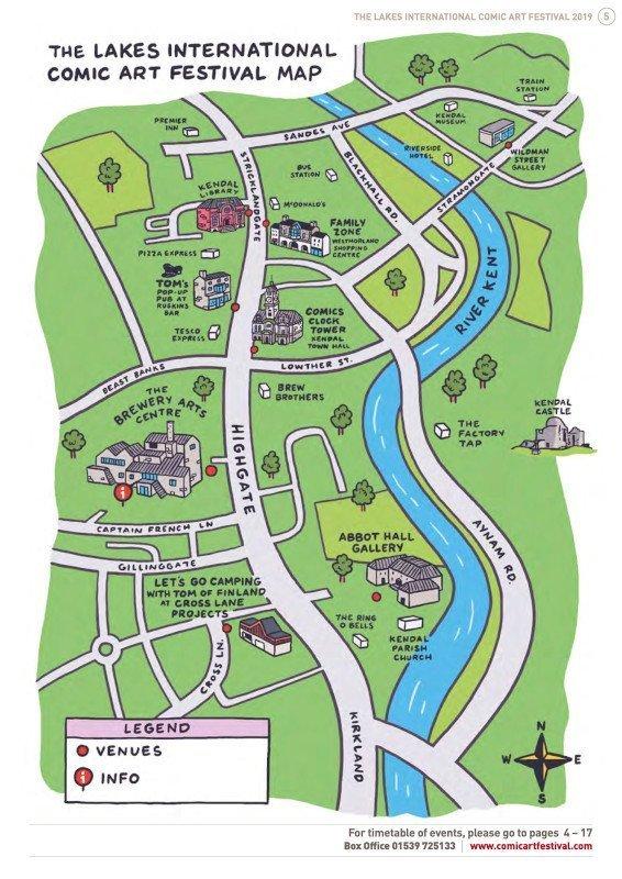 Mappa del Lakes Festiva 2019l, inserita nella guida, con l'indicazioni delle location collegate al Festival