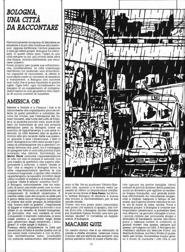 Prima pagina dello Speciale sulla città di Bologna, scritto da Luigi Bernardi, estratto dal n. 29 della rivista Orient Express