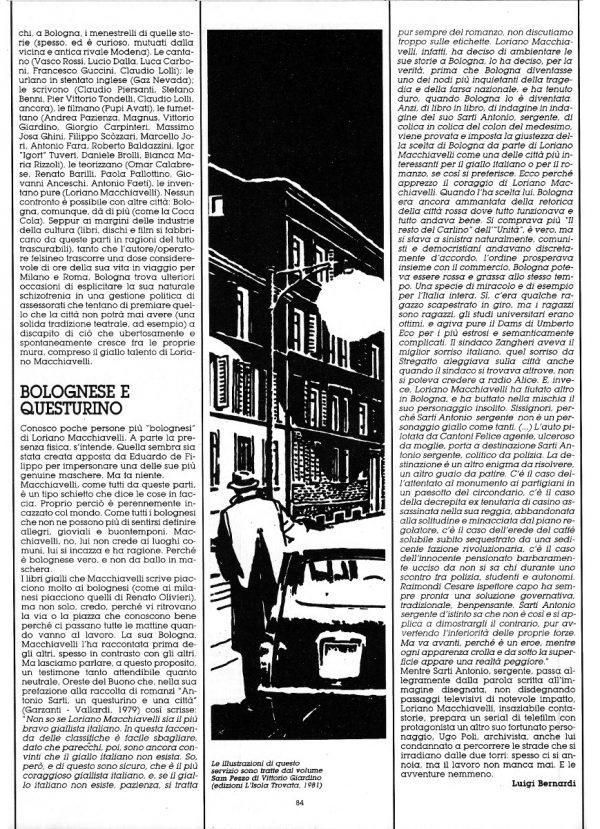 Terza ed ultimna  pagina dello Speciale sulla città di Bologna, scritto da Luigi Bernardi, estratto dal n. 29 della rivista Orient Express