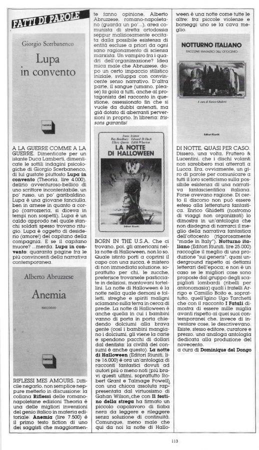 """Rubrica """"FATTI DI PAROLE"""",  con 4 brevi recensioni scritte Dominique Del Dongo (pseudonimo di Luigi Bernardi),  estratta dal n. 29 della rivista Orient Express"""