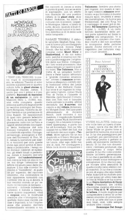 """Rubrica """"FATTI DI PAROLE"""",  con 3 brevi recensioni di cui sola una scritta Dominique Del Dongo (pseudonimo di Luigi Bernardi),  estratta dal n. 30 (l'ultimo) della rivista Orient Express."""