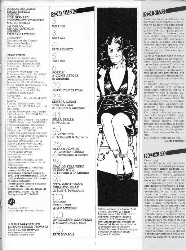 l'intera scansione della pagina 3 dell'ultimo numero di Orient Express (sopra), nella quale c'erano i credits, il sommario, un'immagine di Franco Saudelli, l'editoriale di Bernardi ed a seguire l'inizio dell'intervento di Graziano Frediani e Renato Genovese.