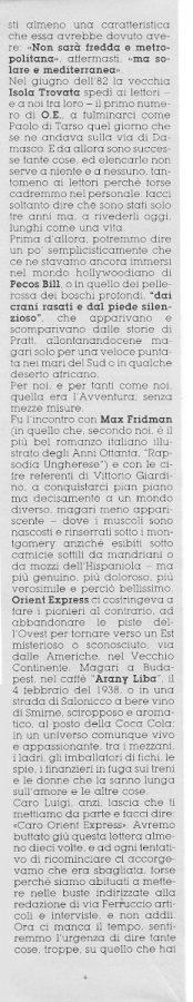 Seconda parte deI contro editoriale (Noi&voi), scritto da Graziano Frediani e Renato Genovese,  estratto dal n. 23 della rivista Orient Express