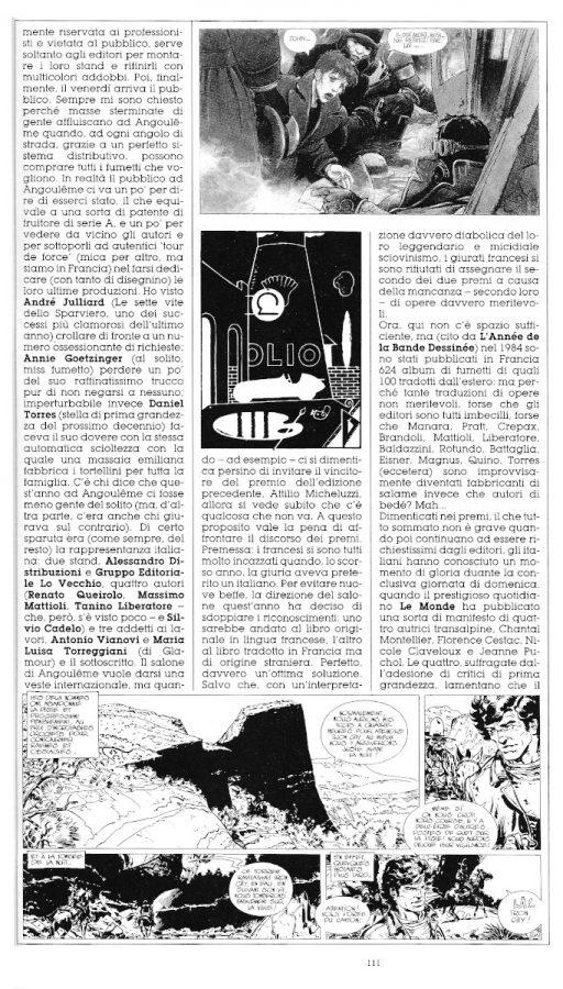 Seconda parte del reportage di Angouleme 1985, sempre a cura di L. Bernardi,  estratto dall'ultimo numero di Orient Express