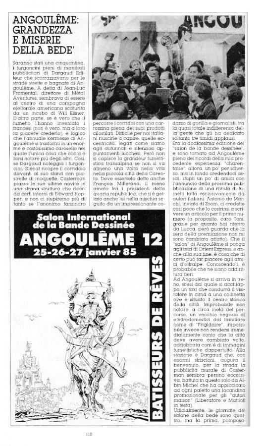 Prima parte del reportage di Angouleme 1985, sempre a cura di L. Bernardi,  estratto dall'ultimo numero di Orient Express