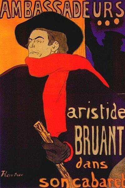 Il formichiere con la sciarpa rossa si riferisce ad Artides Bruant (1851 – 1925), proprietario di cabaret e artista, il quale comprò il Lapin Agile per salvarlo dalla demolizione nei primi anni del ventesimo secolo. Lo potete vedere qui in qualche poster di Henri de Toulouse-Lautrec. immagine 9 di 23