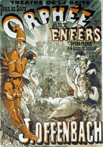 Uno dei poster che si vedono qui, e nella pagina successiva, e a pagina 33, è la pubblicità di Orfeo all'inferno (Orphée aux Enfer) di Jacques Offenbach (1819-1880). Immagine 14 di 23