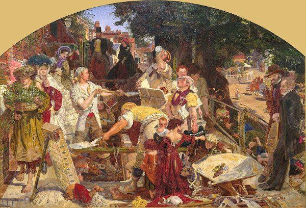 Questa vignetta è la rielaborazione de Il lavoro, il famoso quadro pre-raffaellita di Ford Madox Brown (1873-1939), che si trova nella City Art Gallery di Manchester, che ho visitato tante volte. Egli ne fece una versione più piccola, che si può trovare al Birmingham Museum and Art Gallery. Immagine 15 di 23