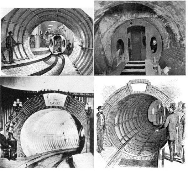 Le metropolitane pneumatiche furono sperimentate nel tardo diciannovesimo secolo. Immagine 19 di 23