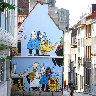 Qui un murale che ritrae Blondin et Cirage a Bruxelles.