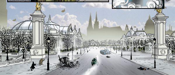 """Qui LeBrock attraversa il Pont Alexandre III sulla Senna, e si dirige verso """"Waterloo Boulevard"""" (gli Champs-Élysées), dove si trova la Krapaud Tower. L'edificio sulla destra è il Grand Palais, che troviamo anche in Grandville Noël. Di fronte ad esso troviamo il Petit Palais."""
