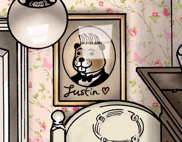 Sul muro potete osservare una fotografia del famoso cantante da bar e rubacuori di teenager (Bunty è ovviamente una sua fan) Justin Beaver.