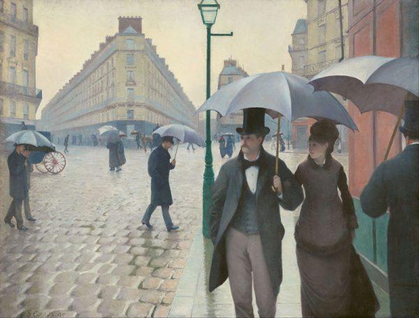 Una rivisitazione della Rue de Paris, Temps de Pluie (Paris Street, Rainy Weather) di Gustave Caillebot (1848-1894).