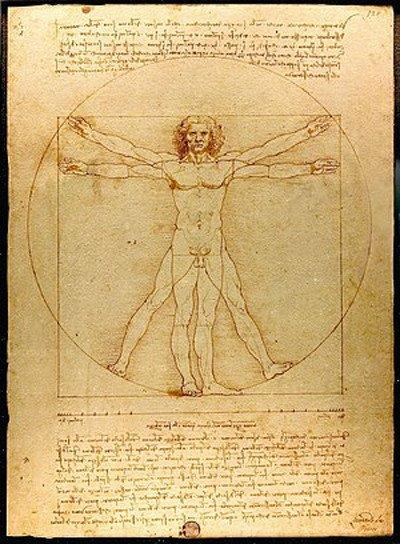 """La """"Sagoma Divina"""" è una versione rielaborata dall'Uomo di Vitruvio di Leonardo Da Vinci."""