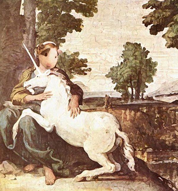 Il dipinto sullo sfondo è tratto da la Fanciulla e l'Unicorno di Domenico Zampieri(1581 – 1641)