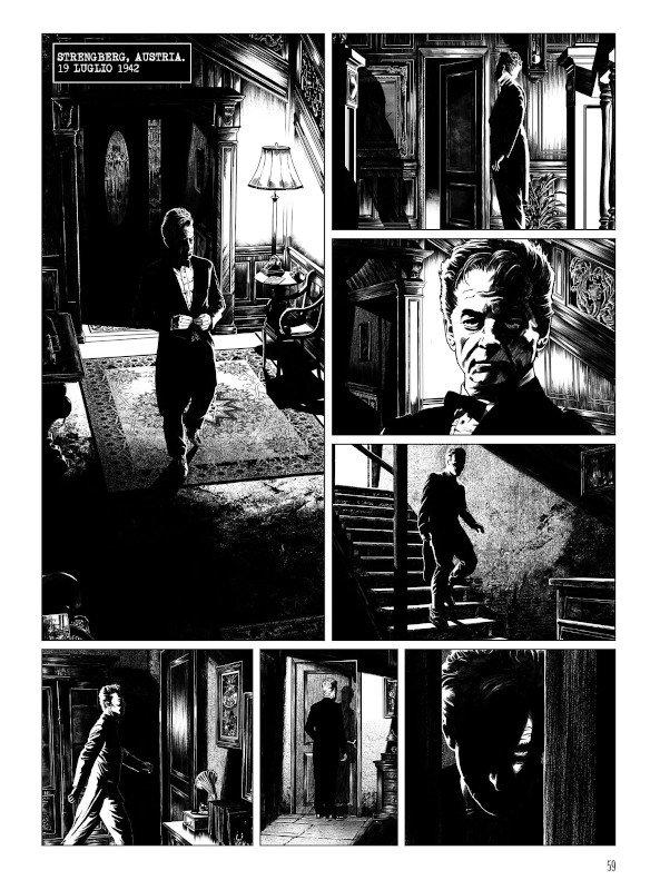 Tavola 59 del romanzo a  fumetti A CASA PRIMA DEL BUIO Secondo Movimento: Scherzo ( Editoriale Aurea) di Francesco Moriconi ed Emiliano Albano.