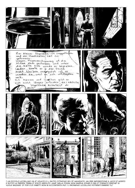 Un'altra pagina del romanzo a   fumetti A CASA PRIMA DEL BUIO Secondo Movimento: Scherzo ( Editoriale Aurea) di Francesco Moriconi ed Emiliano Albano.
