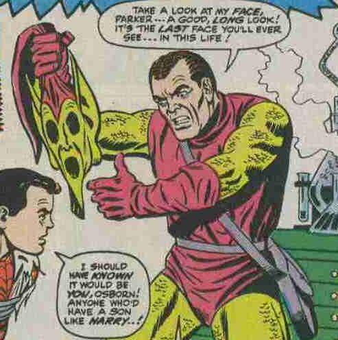 Goblin scopre l'identità di Spidey e lo cattura smascherandolo, rivelando a sua volta di essere Norman Osborn - Amazing Spider-Man 39