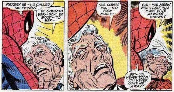 durante uno scontro sui tetti con Octopus, Stacy viene investito da un crollo e ferito mortalmente. Prima di morire raccomanderà a Peter la protezione della figlia, chiamandolo per nome. - Amazing Spider-Man 90