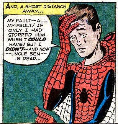 Penultima vignetta a pagina 11 di Amazing Fantasy 01 : con Peter Parker che prende consapevolezza dei suoi nuovi poteri.