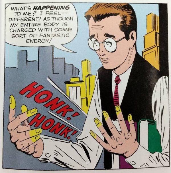 vignetta a pagina 3 di Amazing Fantasy 01 con Peter Parker che prende consapevolezza dei suoi nuovi poteri.