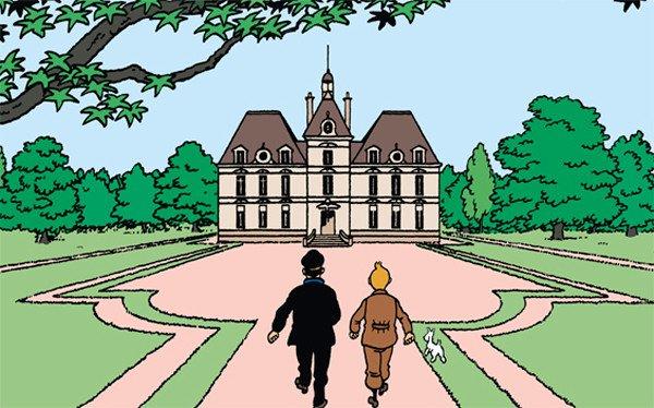 Omaggio ad un classico Tintin, da Il segreto del liocorno, esposto nella Marlinspike Hall.