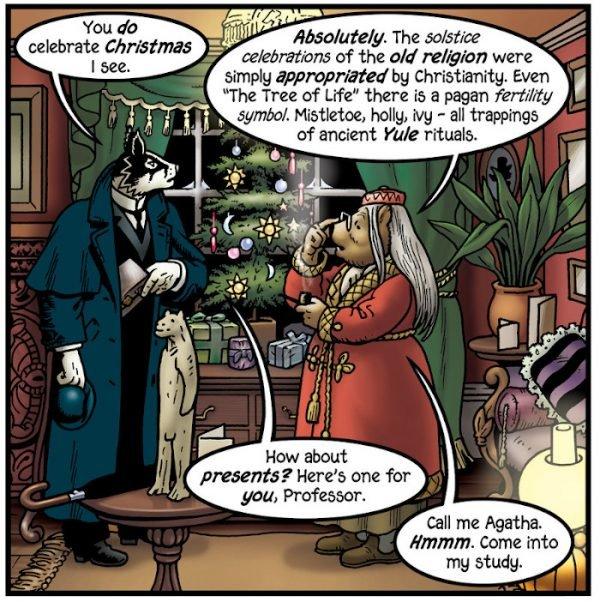Cosa la professoressa Orsina dica a proposito del Natale è corretto. Il suo albero è decorato con soli e lune pagane.