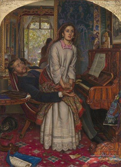 Basata su Il risveglio della coscienza di William Holman Hunt (1827 – 1910), un dipinto raffigurante un uomo e la sua padrona. C'è una buona descrizione dei suoi significati codificati nella Wikipedia pagina a lui dedicata.
