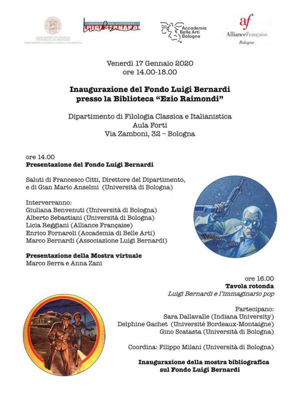 locandina evento dedicato a Lugi Bernardi a bologna del 17 gennaio 2020