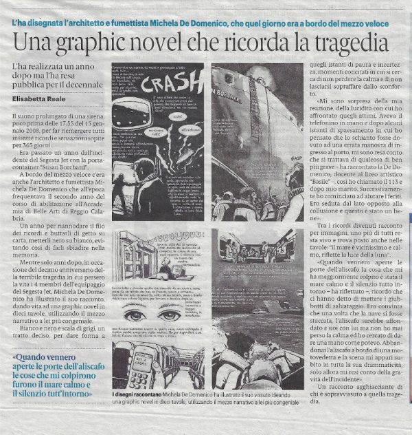 mezza pagina, di sotto, del quotidiano La Gazzetta del Sud del 17 gennaio 2019, dedicata alla tragedia della Segesta