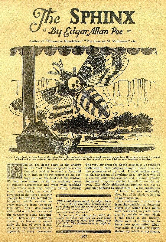 prima pagina del racconto la sfinge (Prima pubblicazione: gennaio 1846)