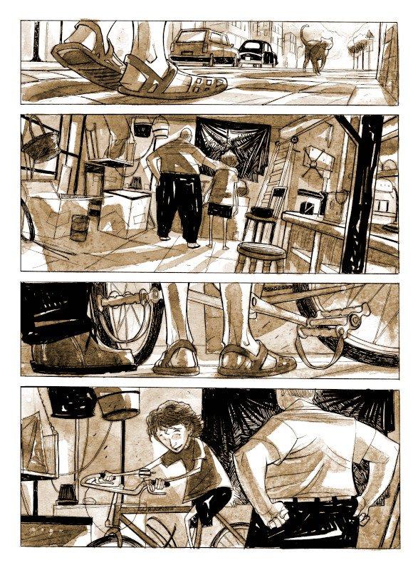 """pagina 12 del romanzo a  fumetti """"Gli ultimi giorni di Marco Pantani"""""""